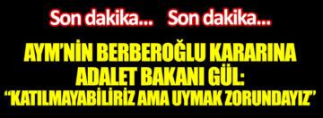 Adalet Bakanı Gül'den Enis Berberoğlu açıklaması