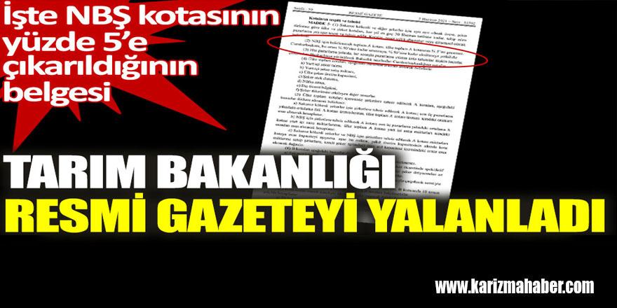 Tarım Bakanlığı Resmi Gazete'yi yalanladı. İşte belgesi