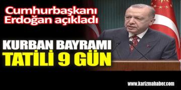 Cumhurbaşkanı Erdoğan kabine sonrası açıkladı. Bayram tatili 9 gün olacak!