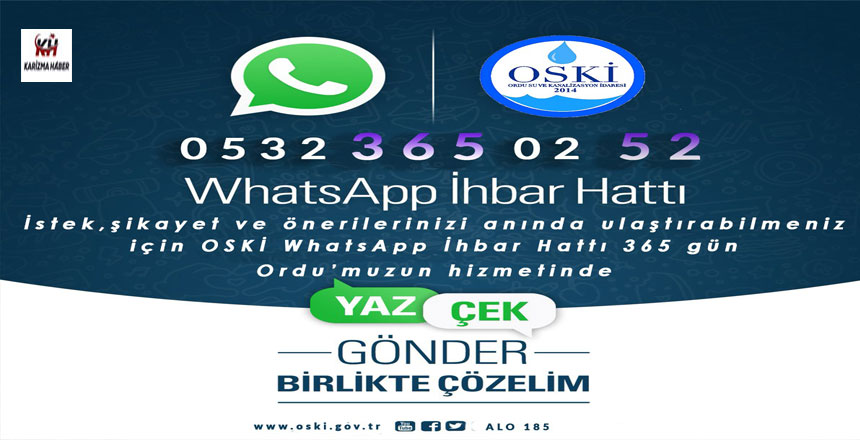 OSKİ WHATSAPP İHBAR HATTINI HİZMETE SUNDU